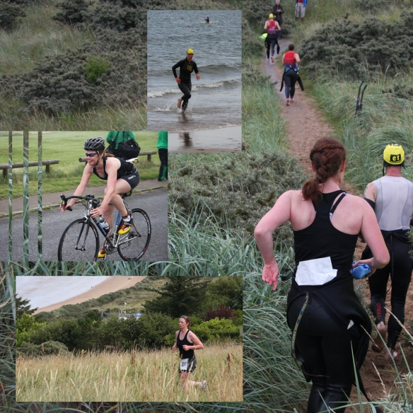 Background picture of people in wetsuits running up a dune with 3 pictures inlaid of the swim, bike, run sections of the race.