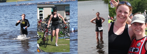 Compilation of pictures of girl competing in triathlon.