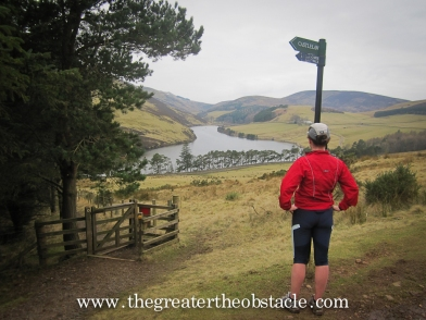 Wk6 Cousin Beth admiring the view of Glencourse, Pentland Hills.